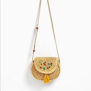 NWT Zara raffia flower details bag